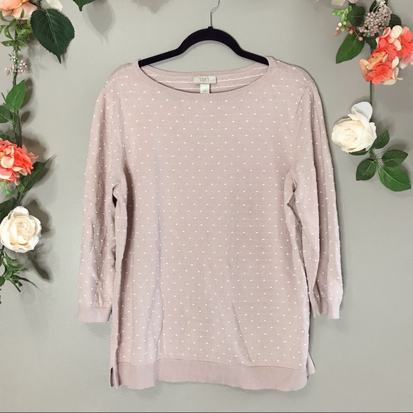 LOFT Sweaters - Loft | Blush polka dot sweater